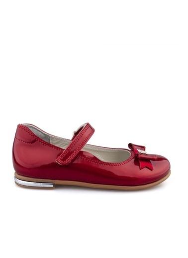 Cici Bebe Ayakkabı Cicibebe Deri Kurdele Tokalı Ve Taşlı Cırtcırtlı Rugan Kız Çocuk Babet Kırmızı
